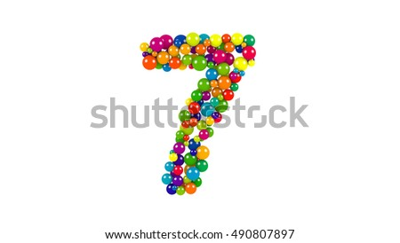 Various sized green, red, blue and yellow balls in the shape of number the seven over white background