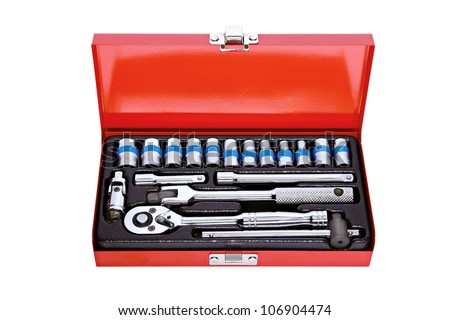 Various sizes of sockets and handles in a workshop tool box - stock photo