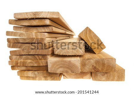 Various sizes of wooden cedar boards isolated on white background - stock photo