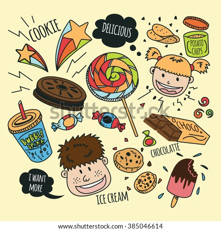 various snack with happy kids in doodle style
