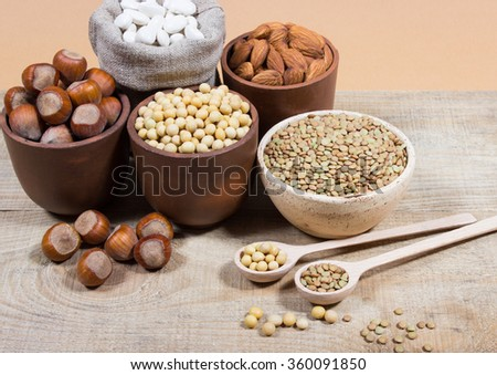 Various sources of plant protein. The concept of vegetarian and vegan diets. - stock photo