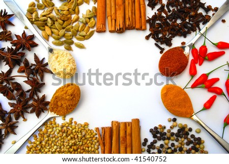 various spices and spoons in a pattern - stock photo