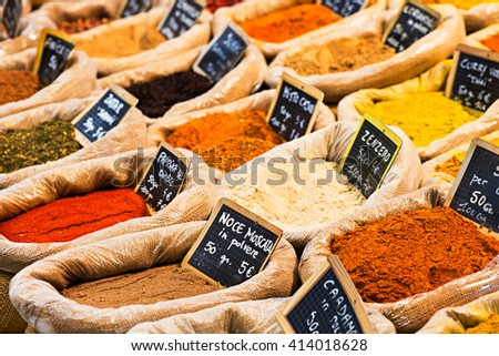 various spices at the market shop - stock photo