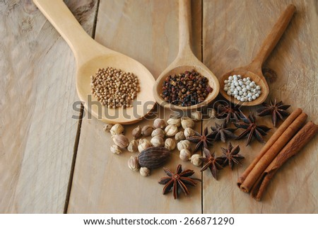 various spices for chinese food boiled decorate on ladle and wooden background - stock photo