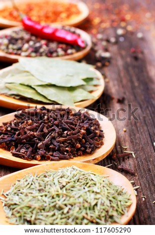 Various spices in spoons closeup - stock photo