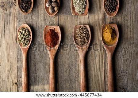 various spices in wooden spoons on old white wooden table