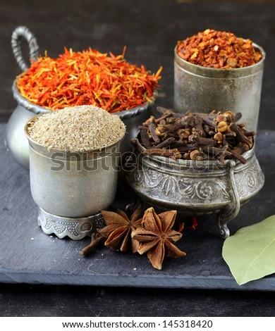 various spices (paprika, turmeric, pepper, aniseed, cinnamon, saffron) - stock photo