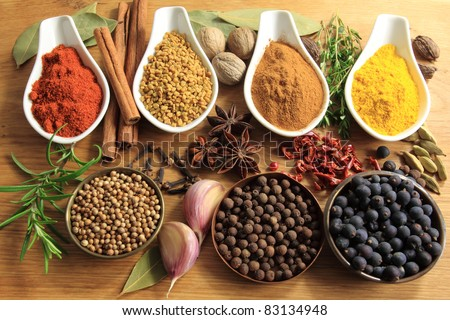 Various spices selection. Food ingredients and aromatic additives. Natural dried cuisine elements. - stock photo