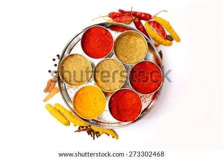 Various spices selection. Isolated on white background - stock photo