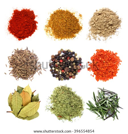 Various spices set isolated on white background - stock photo