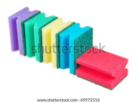 Various sponges isolated on white background