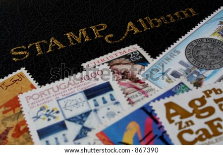 Various stamps on stamp album; Focus on the words stamp album