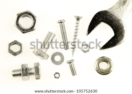 Various steel parts on plain background