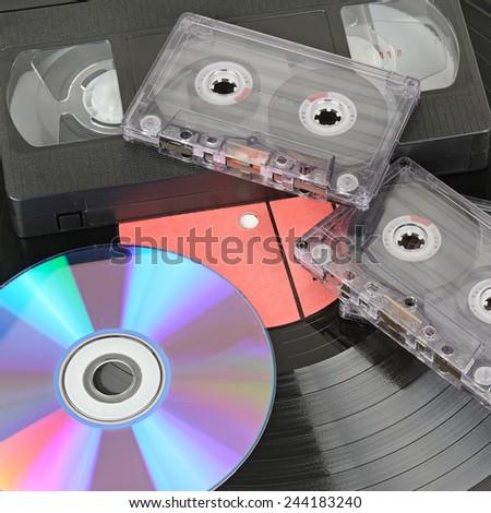 various storage media isolated on white background - stock photo