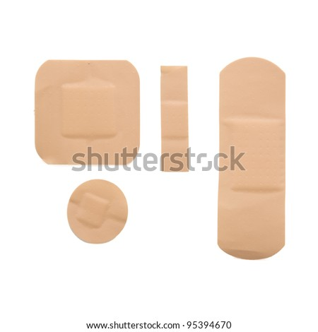various strips of band aid isolated on white background with clipping path - stock photo
