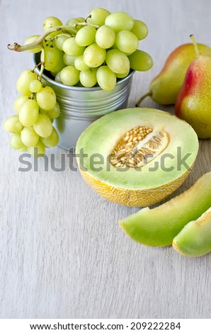 Various summer fruits, copy space text background - stock photo