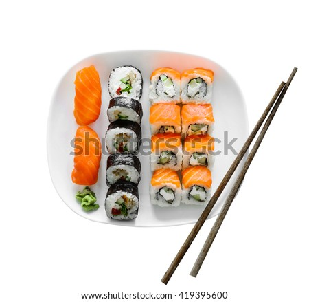 various sushi on white plate