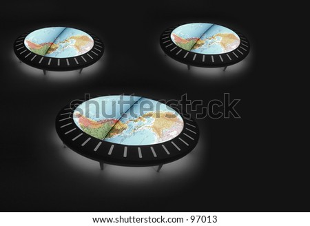 Various tables showing the world - stock photo