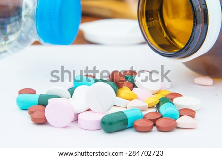 various tablets pills for different therapy, drug