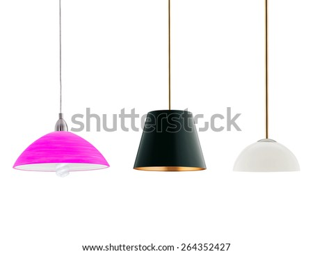 various tall floor lamps isolated on white