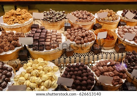 Various tasty sweets in candy shop