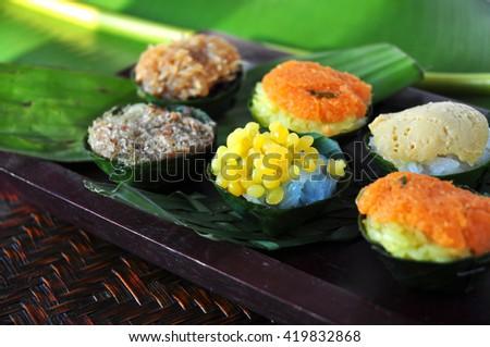 Various topping sticky rice Thai dessert - stock photo