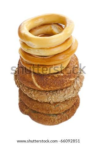Various Turkish bagels - stock photo