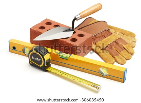 various type of construction tools against white background - stock photo