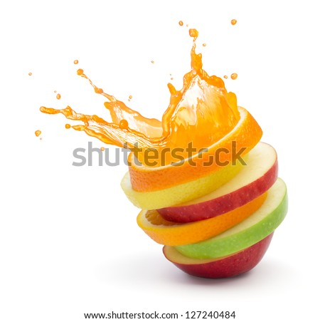 various type of fruit slices stacked with splash, fruit punch concept - stock photo