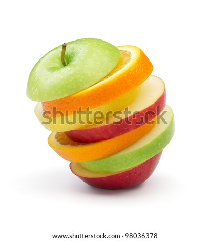 various type of fruits in slices stacked on white background