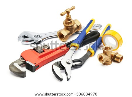 various type of plumbing tools against white background - stock photo