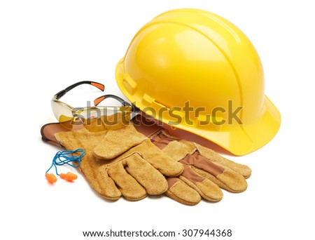 various type of protective work wears against white background - stock photo