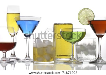 Various types of alcohol drink, Brandy, Champagne, Cocktail and beer. - stock photo