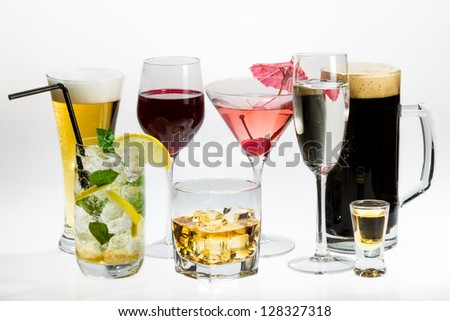 Various types of alcohol on a white background
