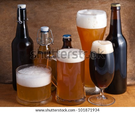 various types of beer - stock photo