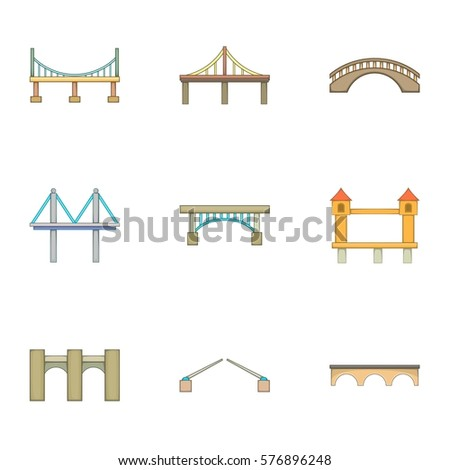 Various types of bridges icons set. Cartoon illustration of 9 various types of bridges  icons for web