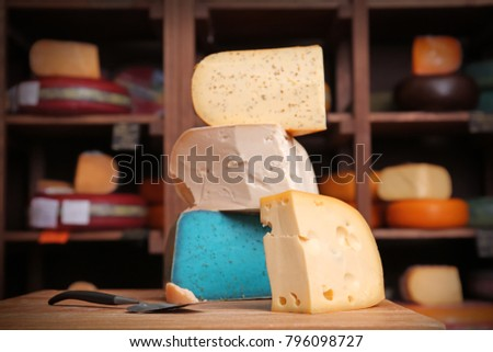 Various types of cheese at cheese store