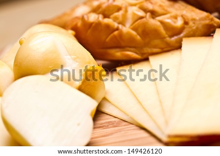 various types of cheese. cheese board