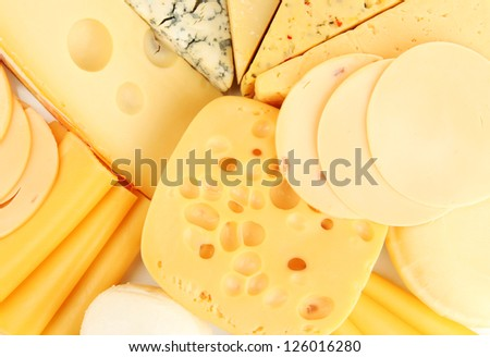 Various types of cheese close up - stock photo