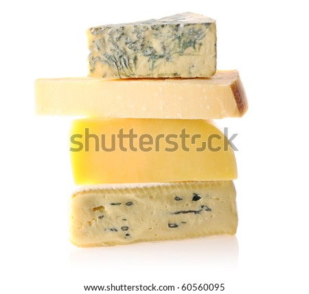 Various types of cheese isolated on white background - stock photo