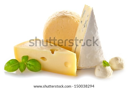 Various types of cheese on white background - stock photo