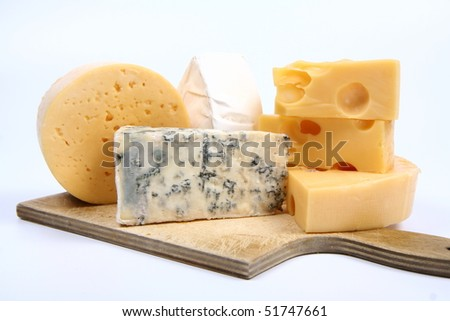 Various types of cheese (swiss, yellow, brie, blue cheese) on white background - stock photo