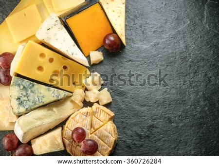 Various types of cheese with empty space background. all images of this series see my portfolio - stock photo
