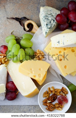 Various types of Cheeses. Top view