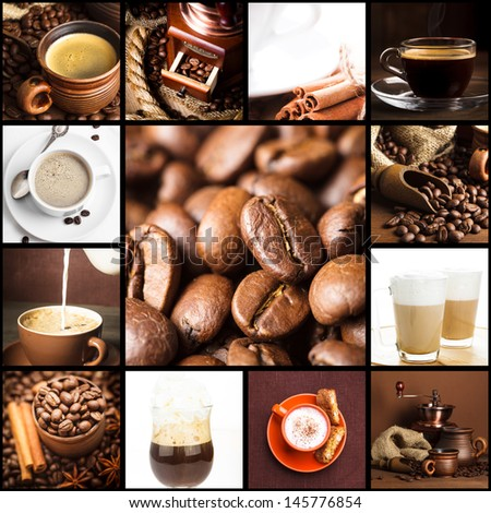 Various types of coffee, cappuccino, latte, and roasted beans.  - stock photo