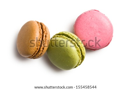 various types of macaroons on white background - stock photo