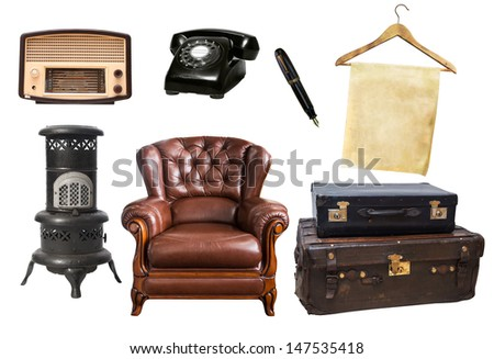 various types of old vintage stuffs isolate on white background