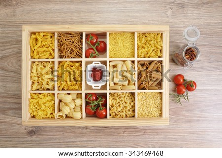 Various types of pasta with decoration. - stock photo
