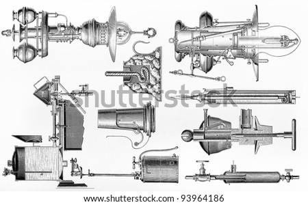 Various types of vintage petrol and gas lamps from the end of 19th century - Picture from Meyers Lexicon books collection (written in German language ) published in 1908 , Germany. - stock photo