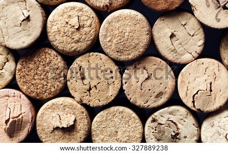Various Used Wine Corks many different wine corks in the background, texture - stock photo